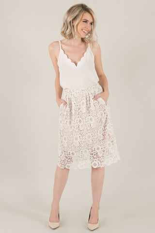Sheryl Pocketed White Lace Midi Skirt