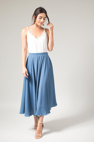Kelly Slate Blue Gray Full Midi Skirt