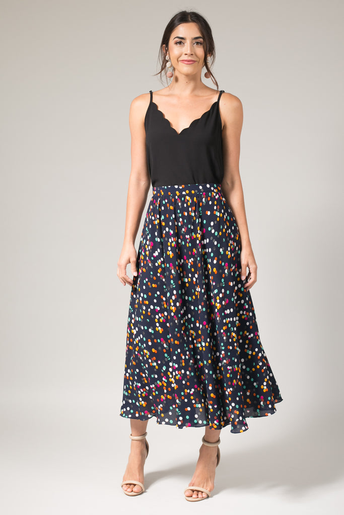 Kelly Multi Dot Full Midi Skirt