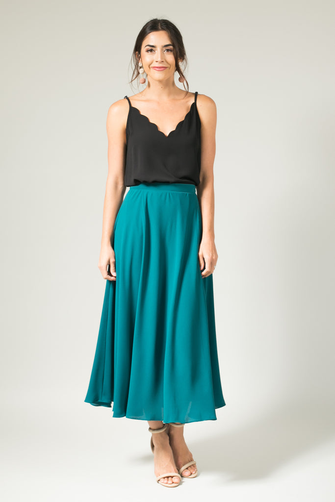 Kelly Green Full Midi Skirt