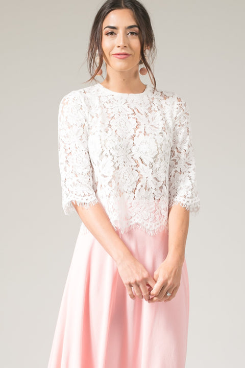 Jaylyn 3/4-sleeve White Floral Lace Crop Top