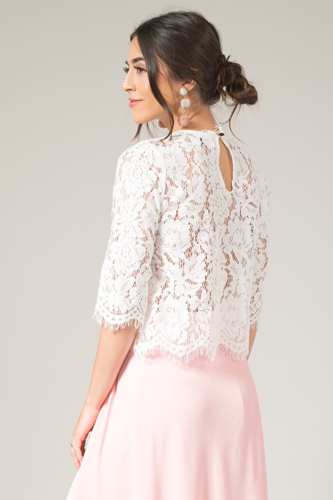 7219c35222194d Jaylyn 3 4-sleeve White Floral Lace Crop Top