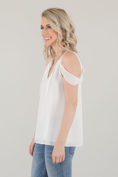 Lani Draped Flowy Cami Top - White