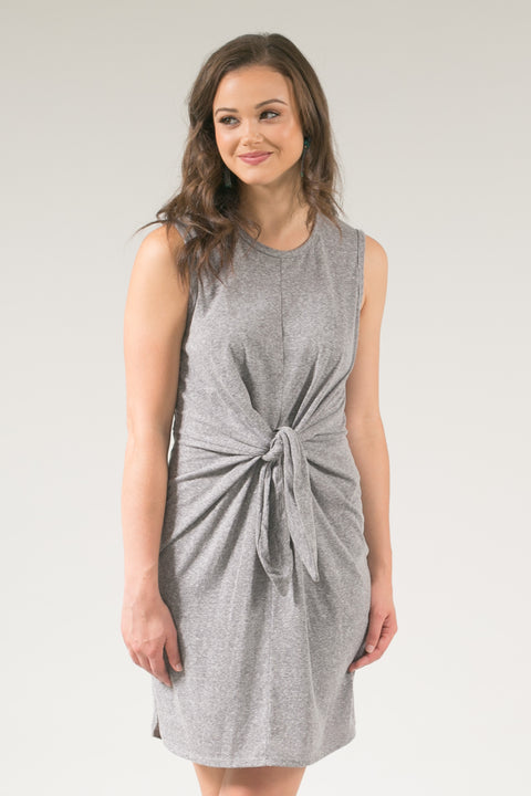 Winn Gray Cotton Tie Front Midi Dress