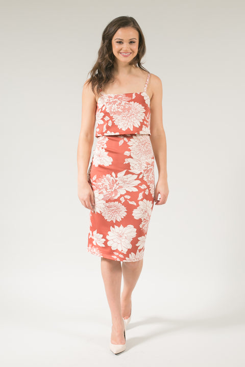 Kathleen Brick Beige Floral Bodycon Midi Dress