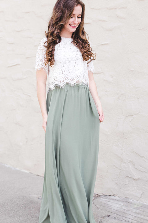 Kelly Sage Full Maxi Skirt