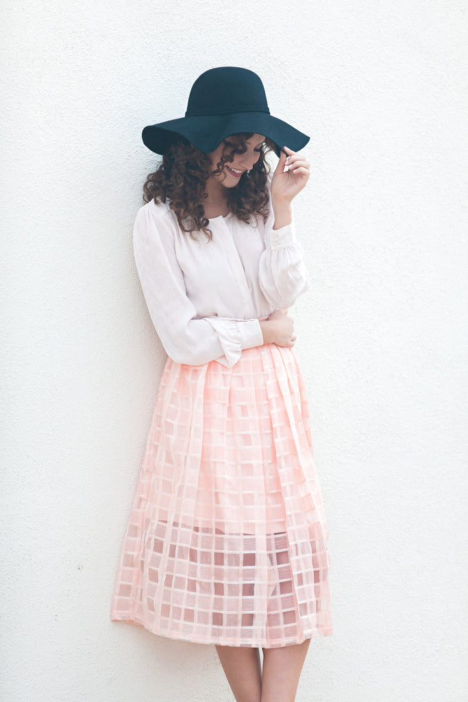 Kiss And Tell Lace Midi Skirt - Peachy Blush *Final Sale*