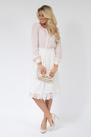 Self Reflection Pleated Midi Lace Skirt *Final Sale*