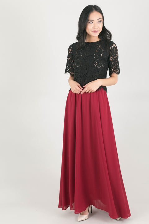 Kelly Burgundy Full Maxi Skirt