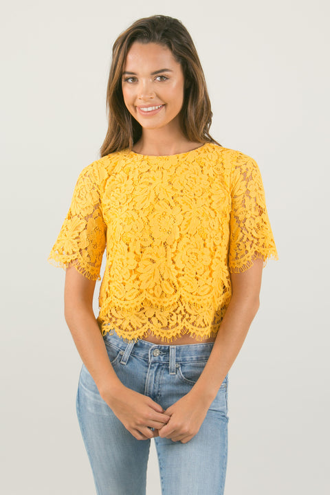 Jaylyn Floral Lace Crop Top - Yellow Marigold