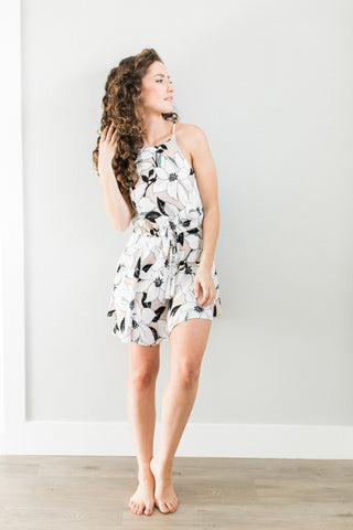 Misa Taupe Floral Tie Waist Dress
