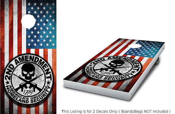 2nd Amendment (COLOR) Cornhole decal wrap set!