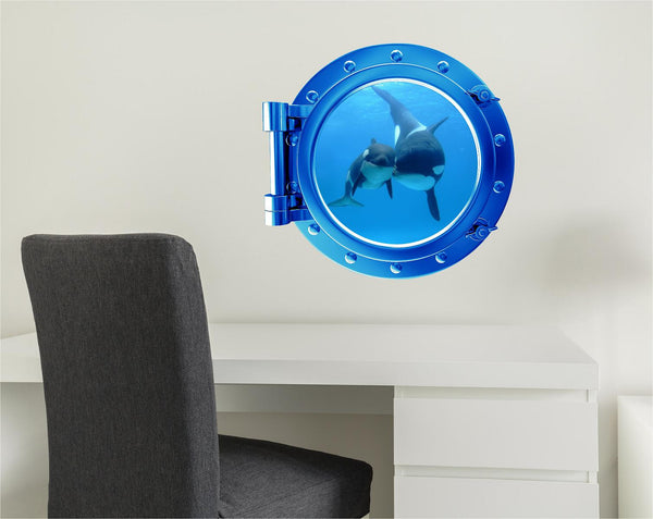 COLORED PORTSCAPE! Blue Whale & Cub Wall Decal!