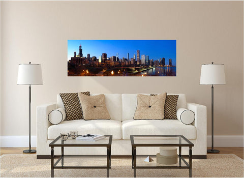 Panoramic Chicago Evening #1 Wall Decal!