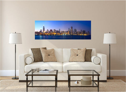 Panoramic Chicago Evening #2 Wall Decal!