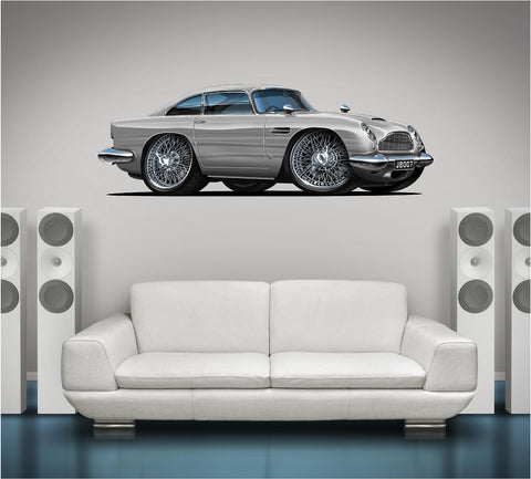 Aston Martin 007 James Bond 1963 DB5 Skyfall Classic Car Wall Graphic - Stickit Graphix