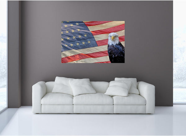 MiniMural: Eagle On US Flag Wall Decal!