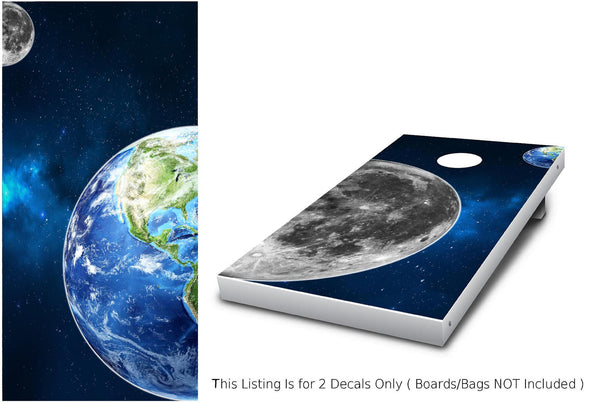 Earth & Moon Cornhole Wrap set!