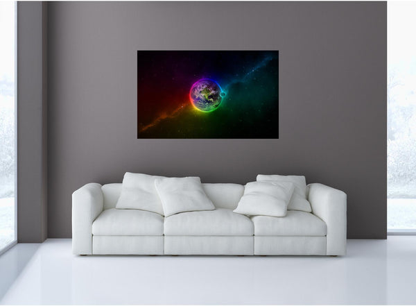MiniMural: Earth In Technicolor Wall Decal!