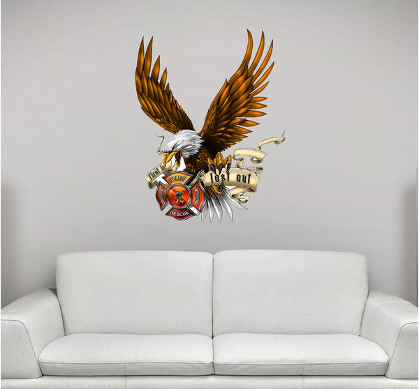 Firefighter Eagle in Flames Wall Decal