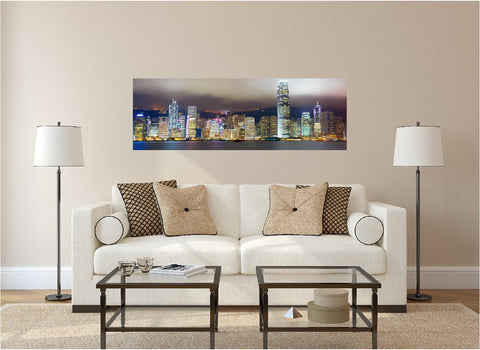 Panoramic Hong Kong At Night #1 Wall Decal!
