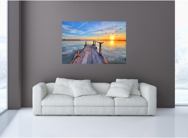 MiniMural: Lake Dock At Sunset Wall Decal!