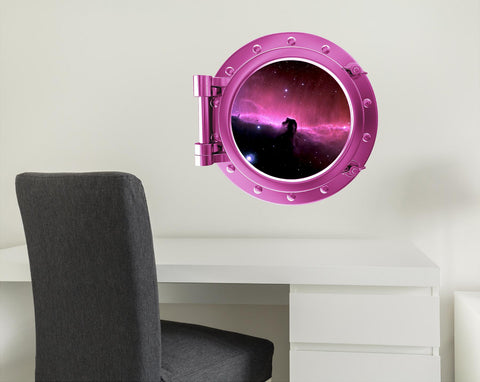 COLORED PORTSCAPE Pink Horse Head Nebula Porthole Wall Decal !