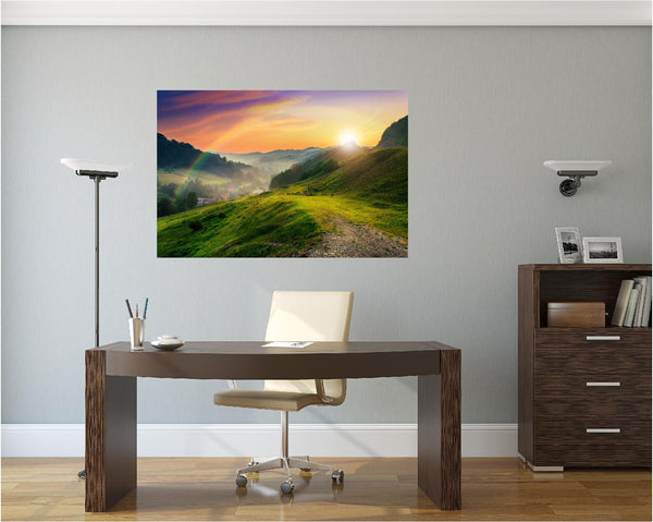 MiniMural: Rainbow Sunset Wall Decal!