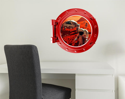 COLORED PORTSCAPE Red Exploring Mars Wall Decal!