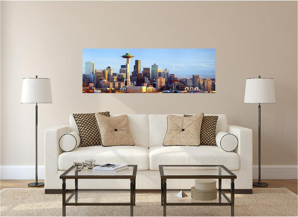 Panoramic Seattle Skyline At Dusk Wall Decal!