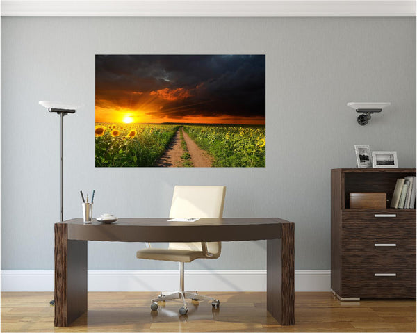 MiniMural: Sunflower Field Sunset #2 Wall Decal!
