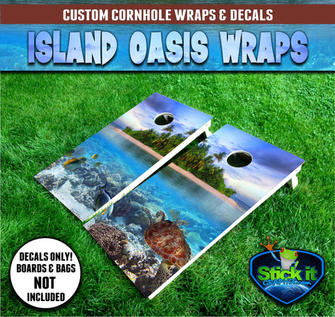 Tropical Island OASIS Corn hole Wrap set!