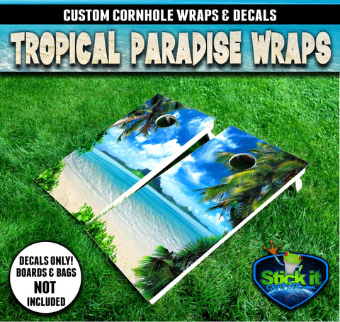 Tropical Island Paradise Cornhole Wrap set!