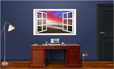 WindowScape Beach Sunrise #1 Wall Decal!