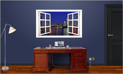 WindowScape Boston At Night #1 Wall Decal!