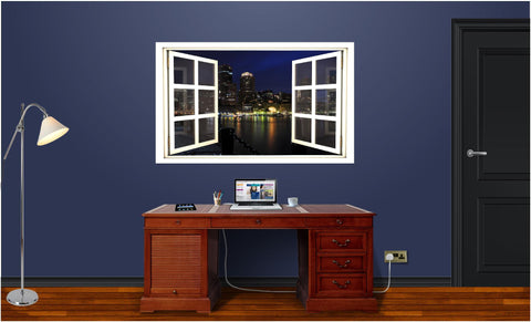 WindowScape Boston At Night #2 Wall Decal!