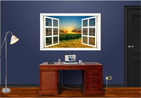 WindowScape Sunflower Field Sunset Wall Decal!