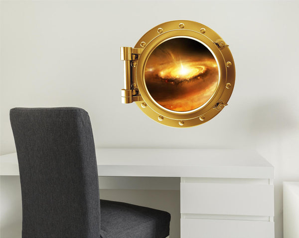 COLORED PORTSCAPE Yellow Stellar Nursery #1 Porthole Wall Decal!
