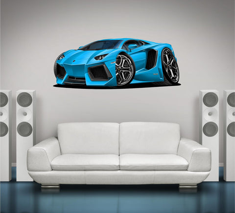 Lamborghini Aventador V12 Wall Graphic Cartoon Car