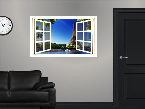 WindowScape Eiffel Tower In France #1 Wall Decal!