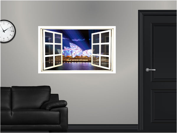 WindowScape Sydney Glows At Night #1 Wall Decal!