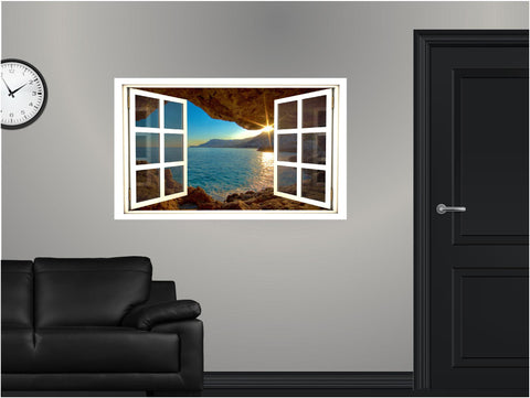 WindowScape Sunset Sea Cave Wall Decal!
