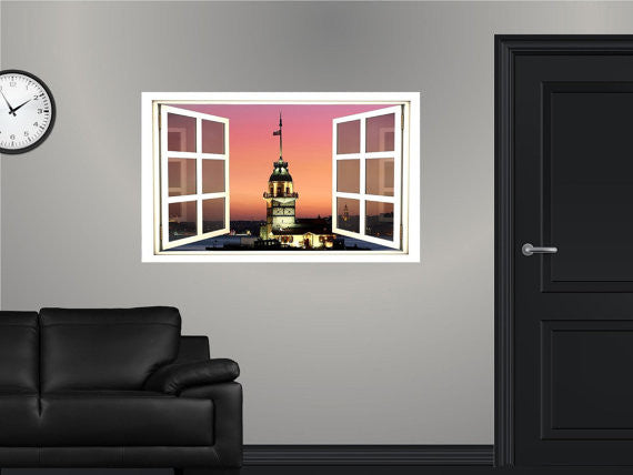WindowScape Tower At Dusk Wall Decal!