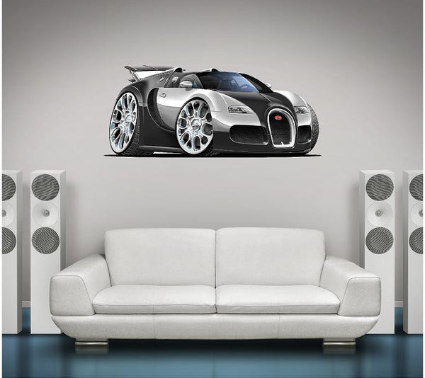 Bugatti VEYRON Wall Graphic Grand Sport Cartoon Car