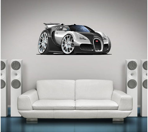 Bugatti VEYRON Wall Graphic Grand Sport Cartoon Car - Stickit Graphix