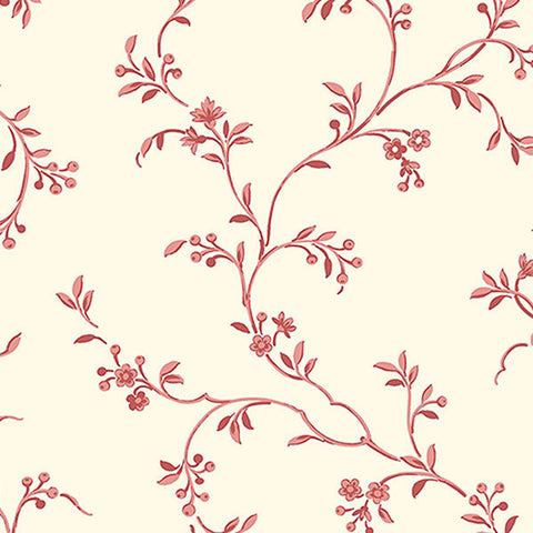 Floral Vine in Red and Cream - AB27625