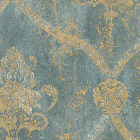 Light Green and Gold Damask - CH28248