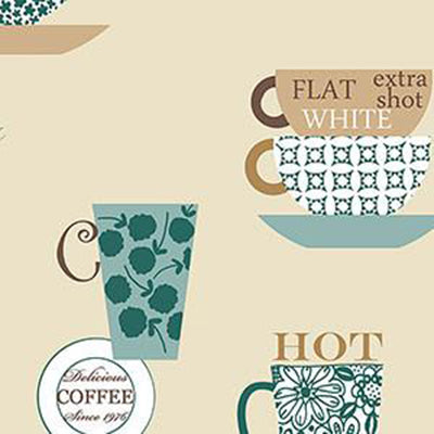 Coffee Time, Brown, Teal, Beige Patton FK34429