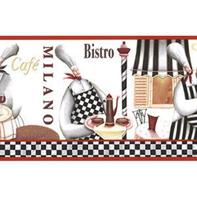 Bistro Chefs Border, Red, Tan, Black Patton KB79722