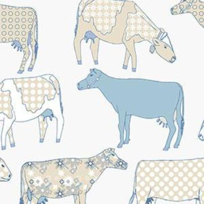 Cow Parade, Cream, Blue Patton KE29929